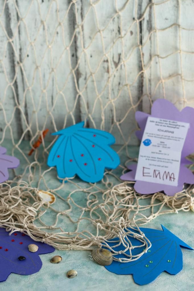 Meerjungfrauen-Kindergeburtstag Einladung