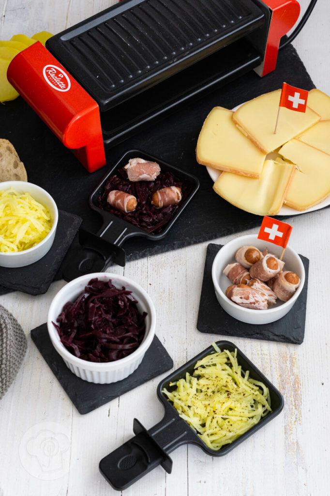 Mini Berner Würstchen, Raclettepfännchen, Raclette suisse