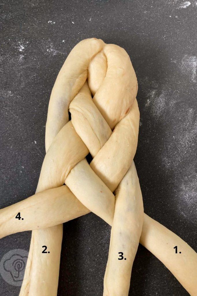 Rezept zum Backen: Osterzopf aus Hefeteig. Probiert doch mal aus, einen 4 Strang Zopf zu flechten oder kleine Osternester. So wird der Osterbrunch lecker. Küchentraum & Purzelbaum