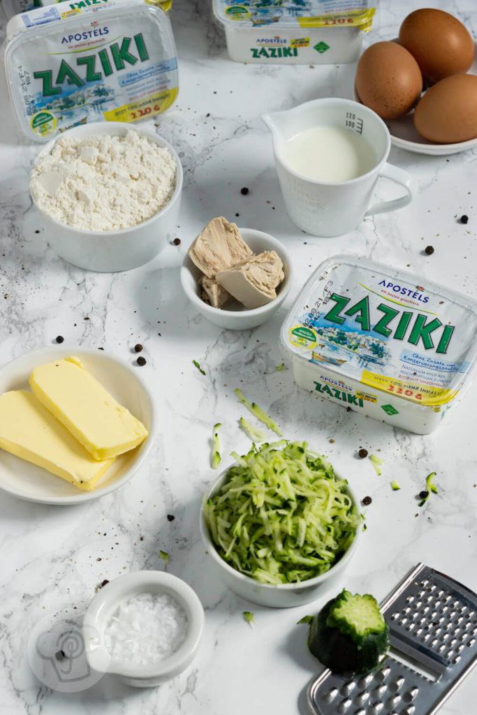 Zutaten Zucchiniwaffeln mit Zaziki