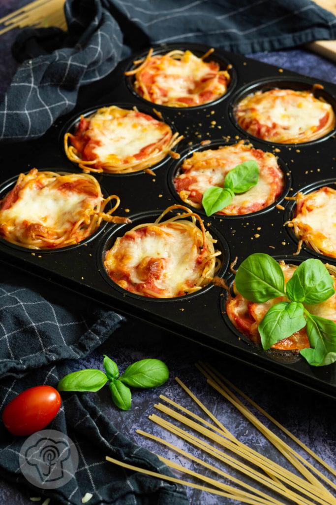 Spaghetti Muffins gebacken im Muffinblech