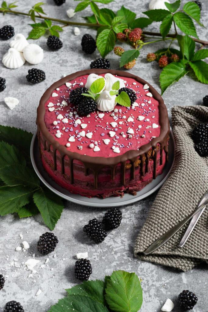 Brombeer Torte mit Schokolade auf einem Teller. Brombeeren als Dekoration.